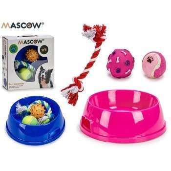 Set mangeoire et 3 jouets de dentition m 25,5 x 8 x 25,5 cm.