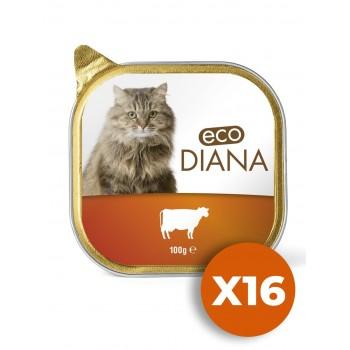 Eco Diana - Pâté en Barquette au Boeuf pour Chat - 100g x16