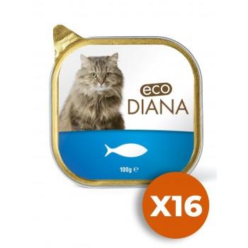 Eco Diana - Pâté en Barquette au Poisson pour Chat - 100g x16