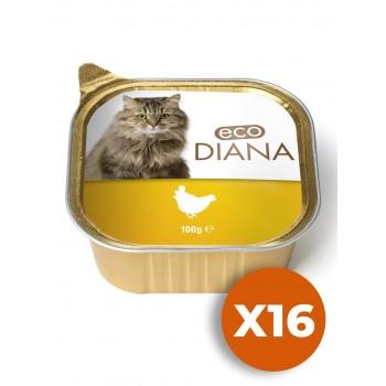 Eco Diana - Pâté en Barquette au poulet pour Chat - 100g x16