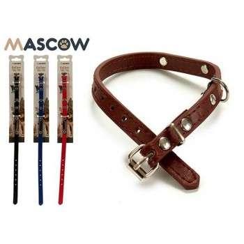 Mascow - Collier cuir synthetique  Surpiqué Avec Plaque Pour Chien