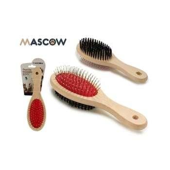 Mascow - brosse double face large beige pour chat et chien.